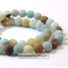 8mm Round Black Gold Amazonite Matte