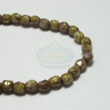 3mm Firepolish Vintage Purple Gold Luster