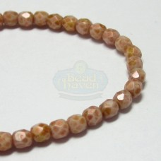 3mm Firepolish Peach Stone Luster