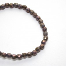3mm Firepolish Cyclamen Opal Bronze Picasso Luster