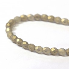 4mm Firepolish Black Diamond Sueded Gold