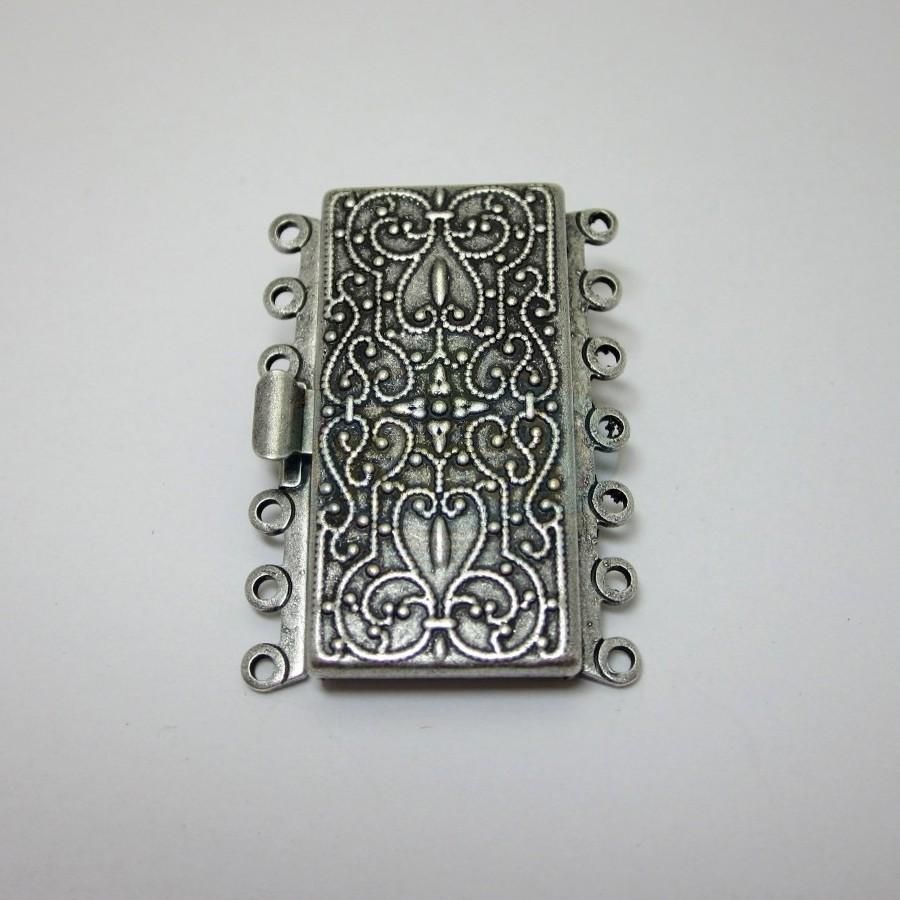 7 Strand Antique Silver Box Clasp