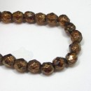 6mm Firepolish Stone Copper Picasso-Topaz