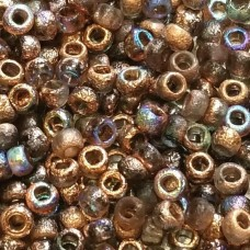 8/o Etched Seed Beads Crystal Etched Copper Rainbow