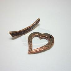 Antique Copper Hammertone Heart Toggle