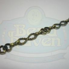 Antique Brass Figure 8 w/Heart Chain