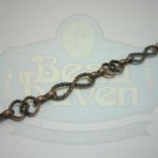 Antique Copper Figure 8 w/Heart Chain