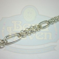 Silver Double Strand w/Oval Chain