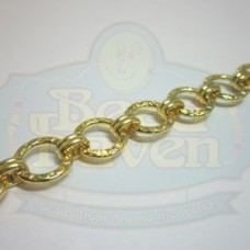 Gold Flat Hammered Rd w/Link Chain