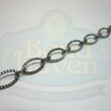 Gunmetal Textured Flat Oval Chain