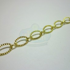 Gold Textured Flat Oval Chain