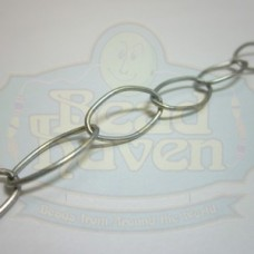 Antique Silver Large Thin Oval Chain