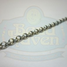 Antique Silver Beveled Rolo Chain