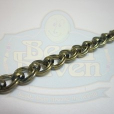 Antique Brass Double Curb w/Bead Chain