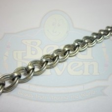 Antique Silver Double Curb w/Bead Chain