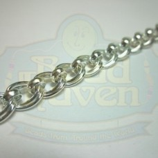 Silver Double Curb w/Bead Chain