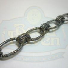 Gunmetal Textured Large Oval Chain