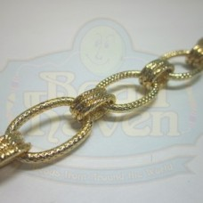 Gold Textured Large Oval Chain