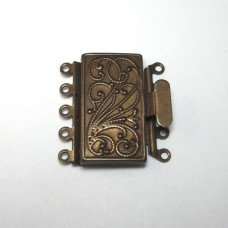 Antique Brass 5 Strand Box Clasp