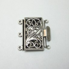 Antique Silver 3 Strand Box Clasp