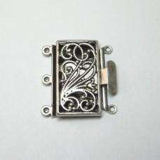 Antique Silver 3 Strand Box Clasp