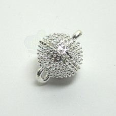 12mm Silver Round Dotted Magnetic Clasp
