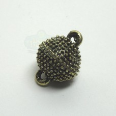 12mm Antique Brass Round Dotted Magnetic Clasp