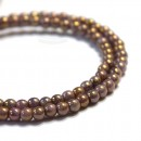3mm Round Opaque Luster Gold/Smoky Topaz