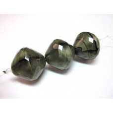 23x23mm smoke and jet marble faceted bicone