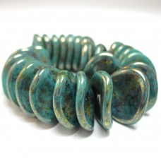 14/13mm Rose Petal Persian Turquoise-Bronze Picasso