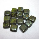 6mm Two Hole Czech Mate Picasso Opaque Olive