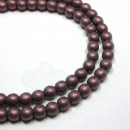4mm Round Metallic Suede-Pink