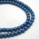 4mm Round Metallic Suede-Blue