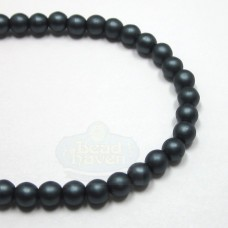 4mm Round Matte-Charcoal