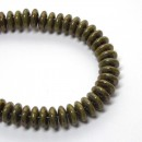 6mm Two Hole Lentil Chartreuse Brown Picasso