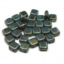 6mm Czech Mate Bronze Picasso-Turquoise
