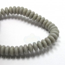 6mm Two Hole Lentil Ashen Gray-Matte