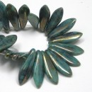 5/16mm Two Hole Dagger Turquoise Bronze Picasso