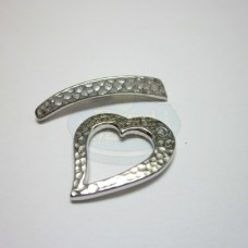 Silver Hammertone Heart Toggle