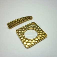 Gold Hammertone Square Toggle