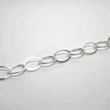 12x9mm Silver Flat Oval Chain