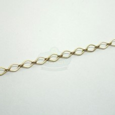 Gold 4x3mm Flat Football Link Chain