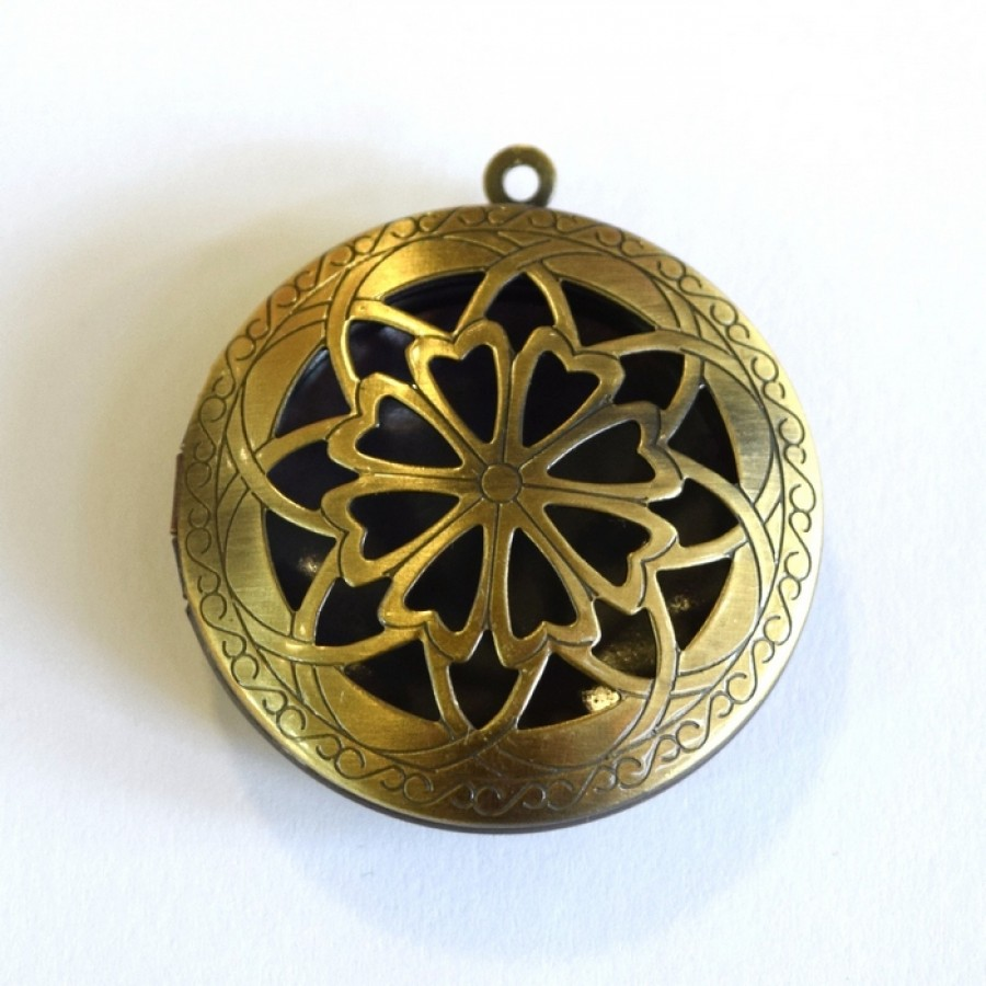 Antique Brass Flat Round Flower Diffuser