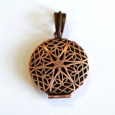 Antique Copper Flat Round Filigree Diffuser