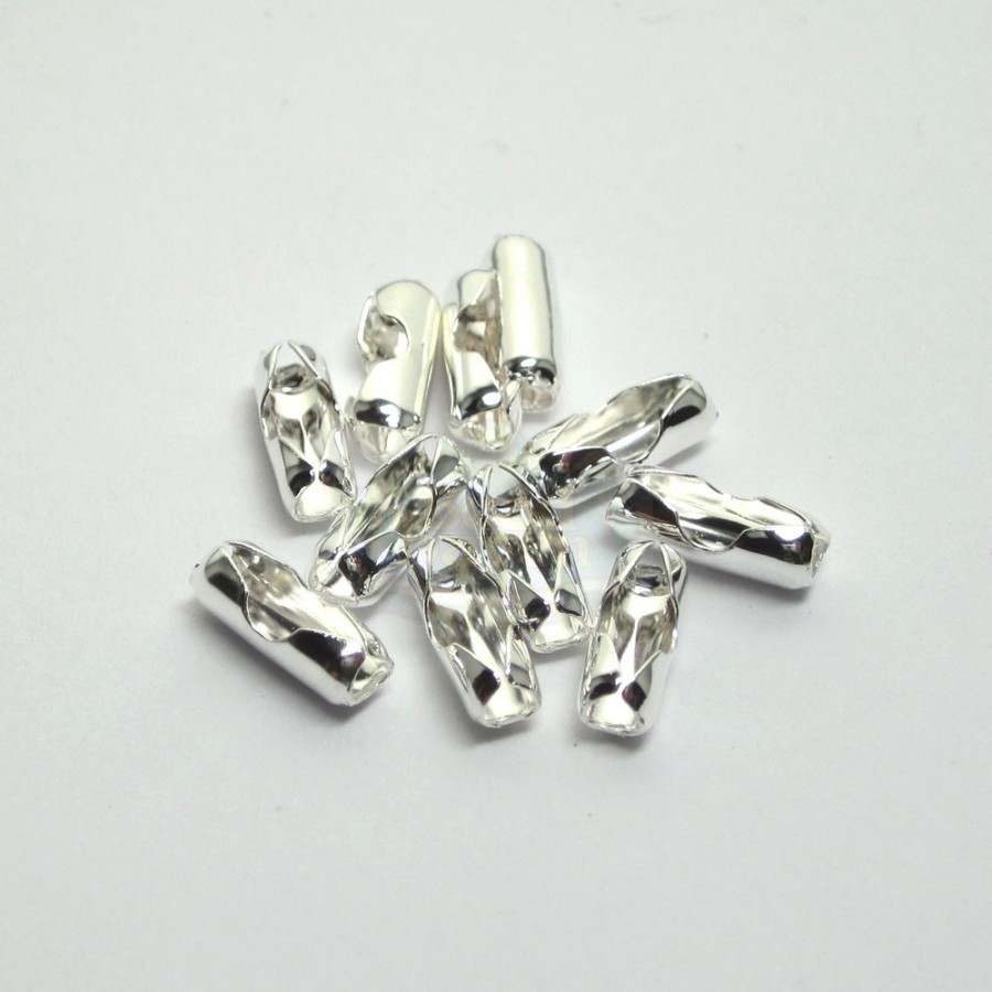 2 3mm silver chain connector